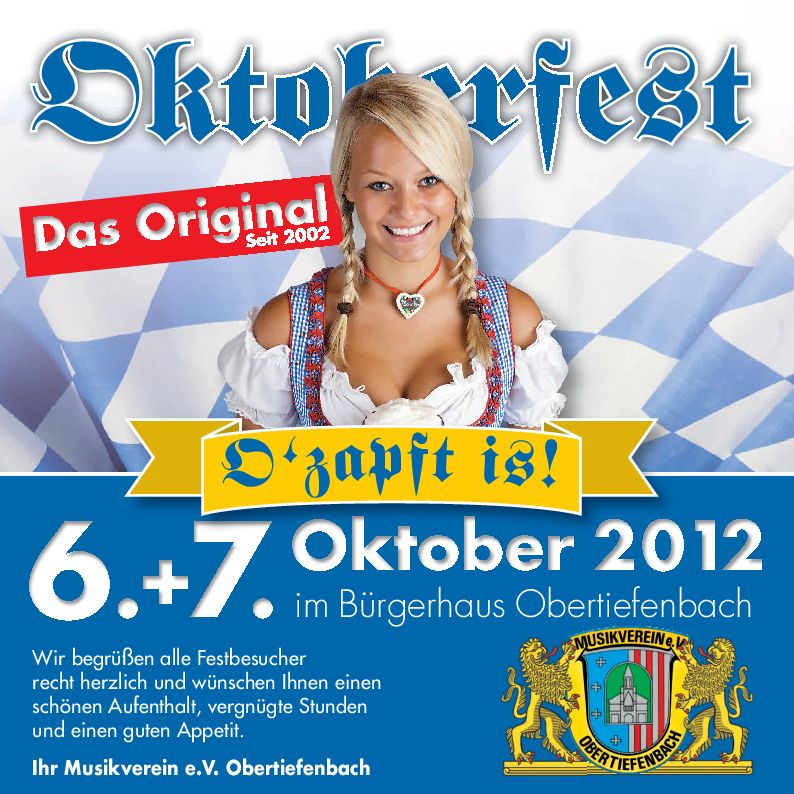 11. oktoberfest in obertiefenbach | musikverein obertiefenbach e.v., Einladung